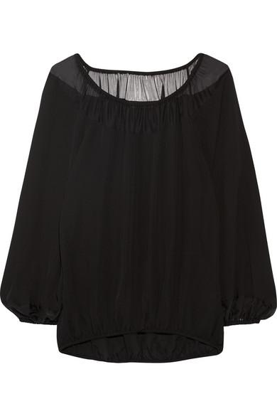 cb5d7f868e5 Tamara Mellon | Off-the-shoulder chiffon-paneled silk top | NET-A ...