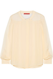 Tamara Mellon Georgette-paneled silk blouse