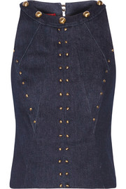 Cropped studded stretch-denim top
