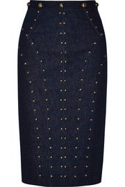 Studded stretch-denim skirt