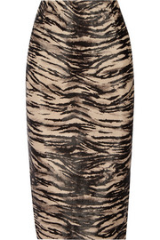 Animal-print calf hair pencil skirt