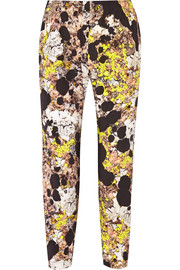 Gabi printed stretch-silk tapered pants