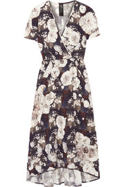 Isie printed stretch-silk charmeuse dress