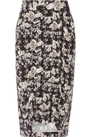 Gemma ruched printed stretch-crepe skirt