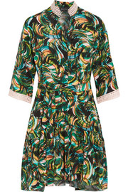 Alix printed washed-silk mini dress