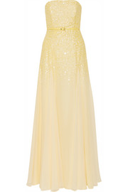 Halston Heritage Sequined layered georgette gown