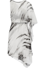 Asymmetric printed chiffon dress