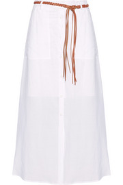 Tylary belted ramie maxi skirt