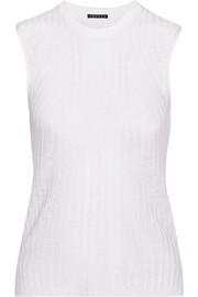 Theory Koronee ribbed linen-blend top
