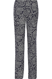 Theory Mitrana printed silk-georgette wide-leg pants