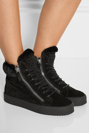 Giuseppe Zanotti May London shearling-lined suede high-top sneakers