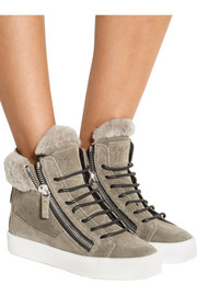 May London shearling-lined suede high-top sneakers