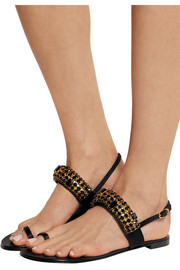 Nuvorock embellished satin and leather sandals