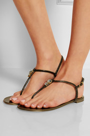 Nuvorock crystal-embellished metallic leather sandals