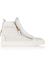 London croc-effect leather high-top sneakers