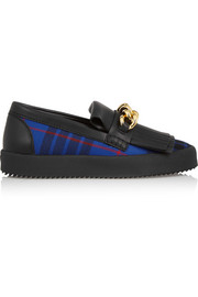 May London leather and tartan twill slip-on sneakers
