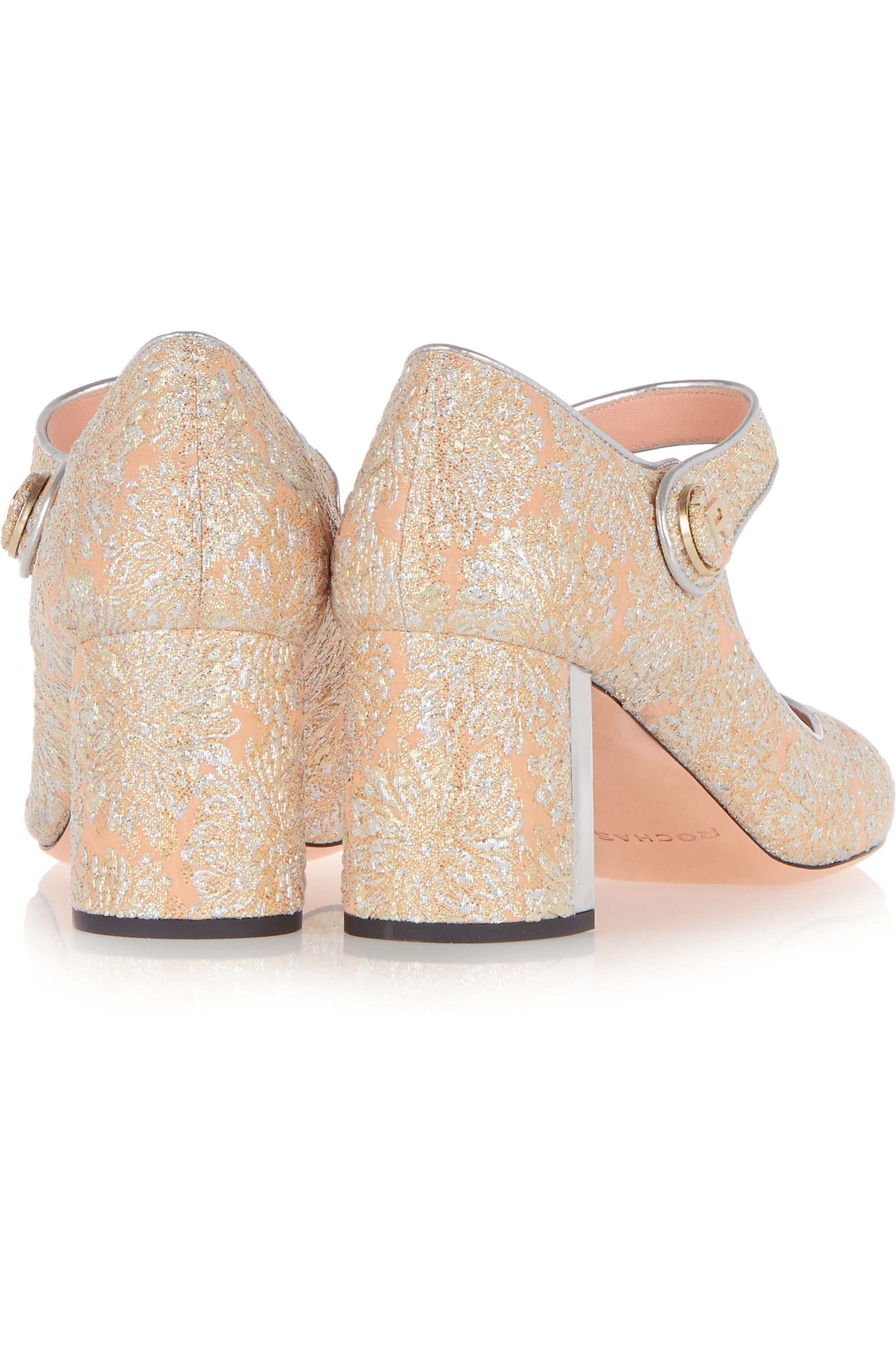 Rochas Metallic leather-trimmed brocade Mary Jane pumps