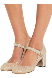 Metallic leather-trimmed brocade Mary Jane pumps