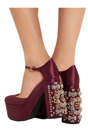 Rochas Crystal-embellished satin platform pumps