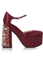 Crystal-embellished satin platform pumps