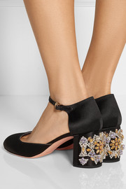 Rochas Crystal-embellished satin pumps