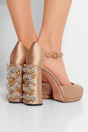 Rochas Crystal-embellished satin platform sandals