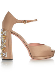 Crystal-embellished satin platform sandals