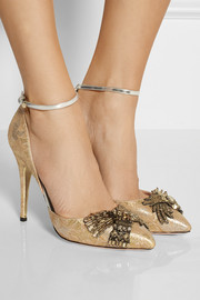 Rochas Embellished metallic brocade pumps
