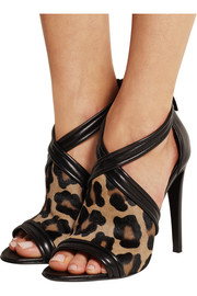 Tally leather-trimmed leopard-print calf hair sandals