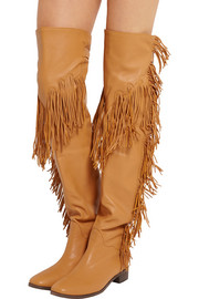 Fringed leather over-the-knee boots