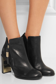 See by Chloé Calf hair-paneled leather ankle boots