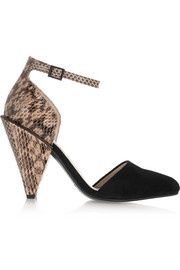 Suede and snake-effect leather pumps