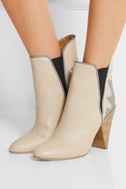 Metallic suede-paneled leather ankle boots