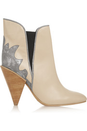 See by Chloé Metallic suede-paneled leather ankle boots
