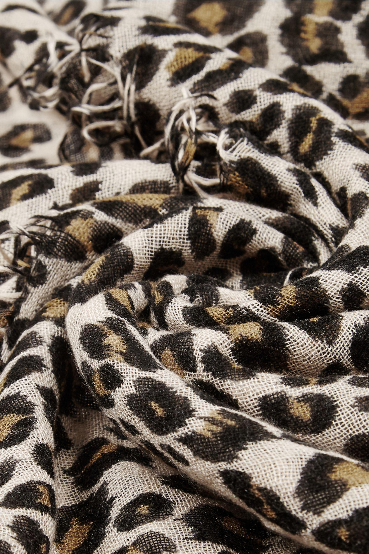 Chan Luu Leopard-print cashmere and silk-blend scarf