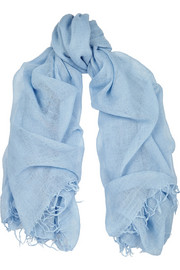 Tasseled cashmere and silk-blend scarf