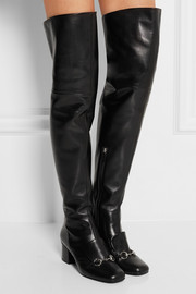 Horsebit-detailed leather over-the-knee boots