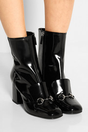 Gucci Horsebit-detailed patent-leather ankle boots