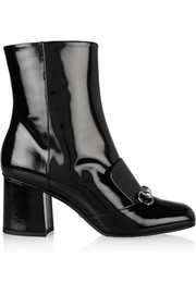 Horsebit-detailed patent-leather ankle boots