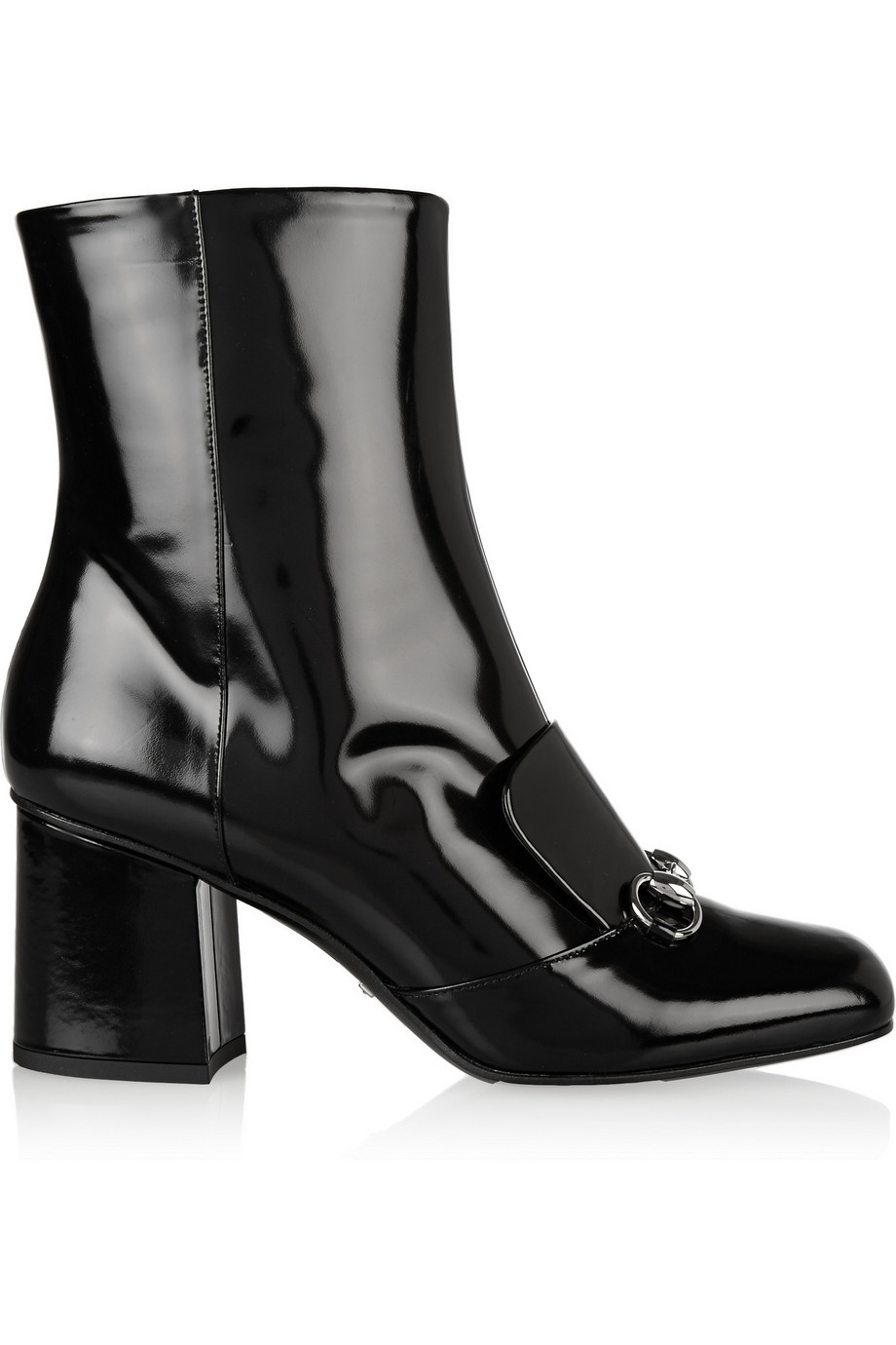 Gucci Horsebit-Detailed Patent-Leather Ankle Boots, Black, Women's US Size: 4.5, Size: 35