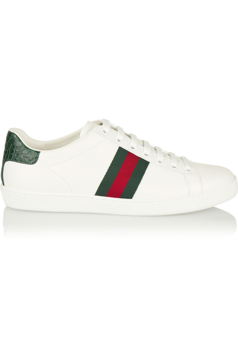 Gucci New Ace Crocodile-Trimmed Leather Sneakers, White, Women's US Size: 8.5, Size: 39