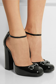 Horsebit-detailed glossed-leather Mary Jane pumps