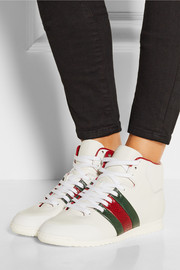 Python-paneled leather high-top sneakers