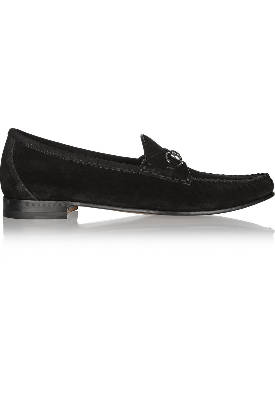 Gucci Horsebit-Detailed Suede Loafers, Black, Women's US Size: 5.5, Size: 36
