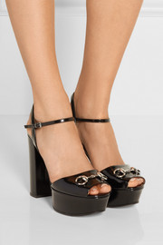 Horsebit-detailed patent-leather platform sandals