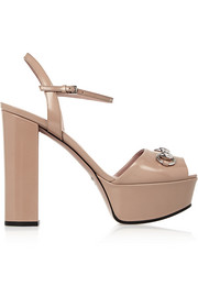 Gucci Horsebit-detailed patent-leather platform sandals