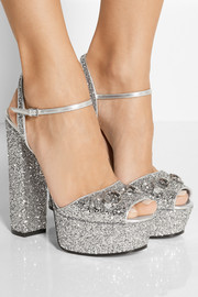 Horsebit-detailed glitter-finished leather platform sandals
