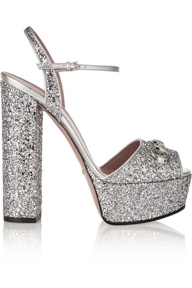 96e3d6de3ffca Gucci. Horsebit-detailed glitter-finished leather platform sandals