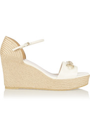 Horsebit-detailed glossed-leather espadrille wedge sandals
