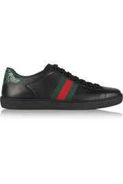 Gucci New Ace crocodile-trimmed leather sneakers
